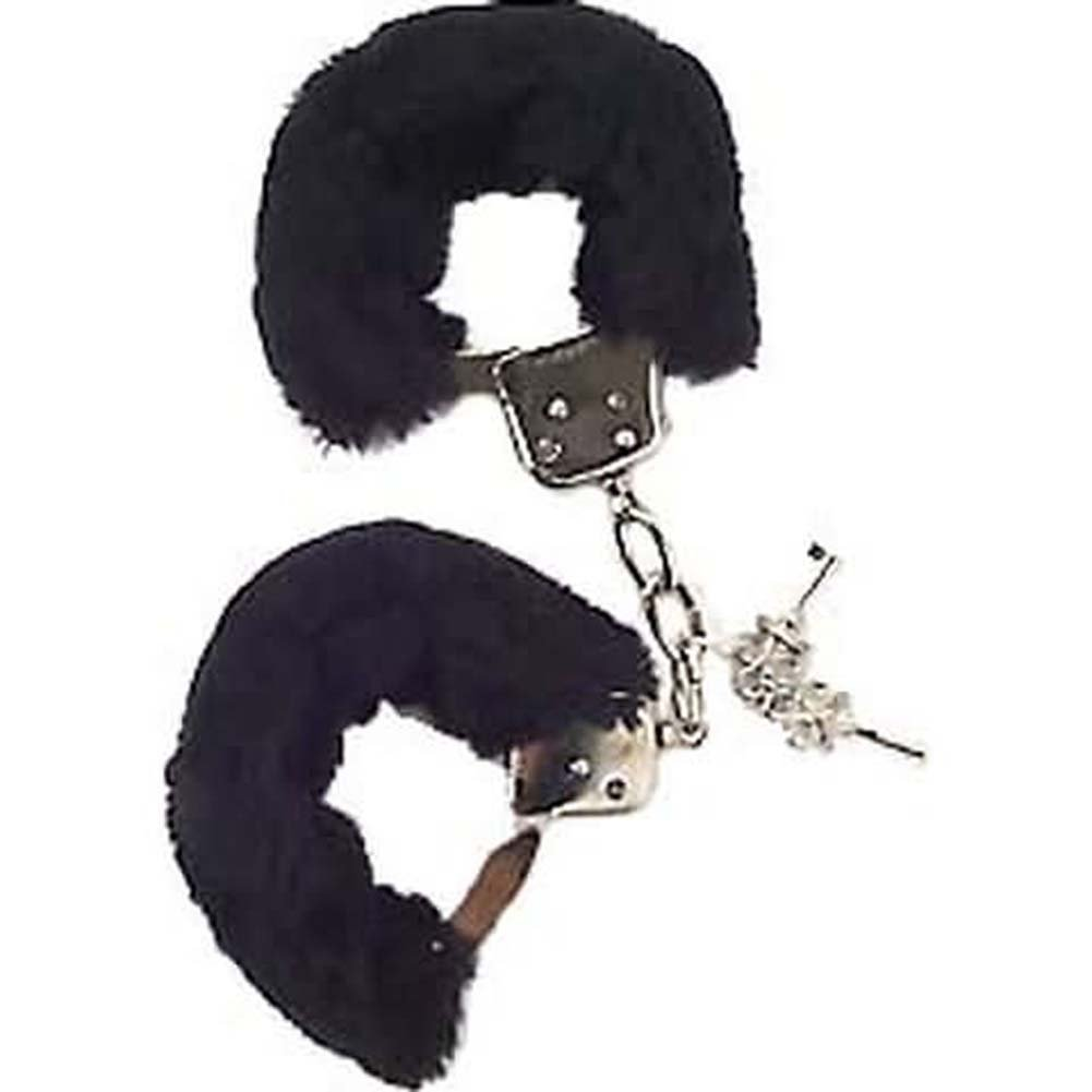Faux Fur Love Cuffs for Intimate Lovers Plush Black - View #2