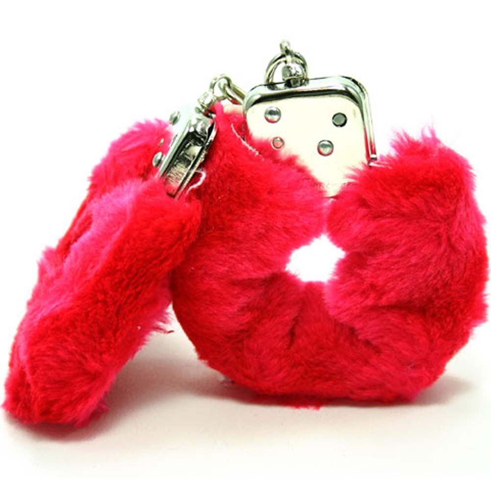 Faux Fur Love Cuffs for Intimate Lovers Plush Red - View #3