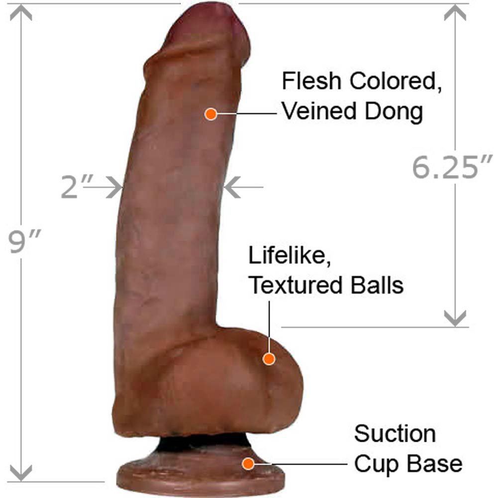 "CyberSkin Perfect Pecker Cock and Balls Dildo 9"" Ebony - View #1"