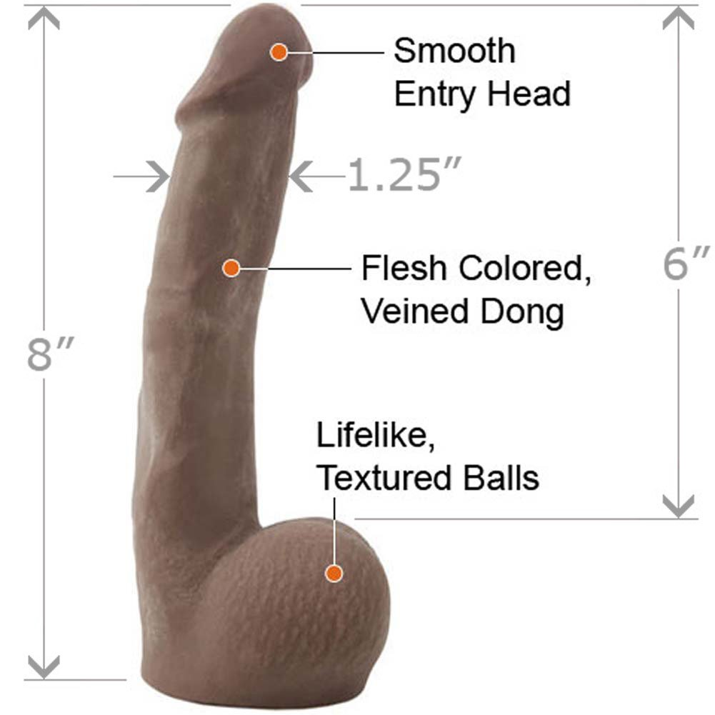 "CyberSkin Cyber Cock with Balls 8"" Ebony - View #1"