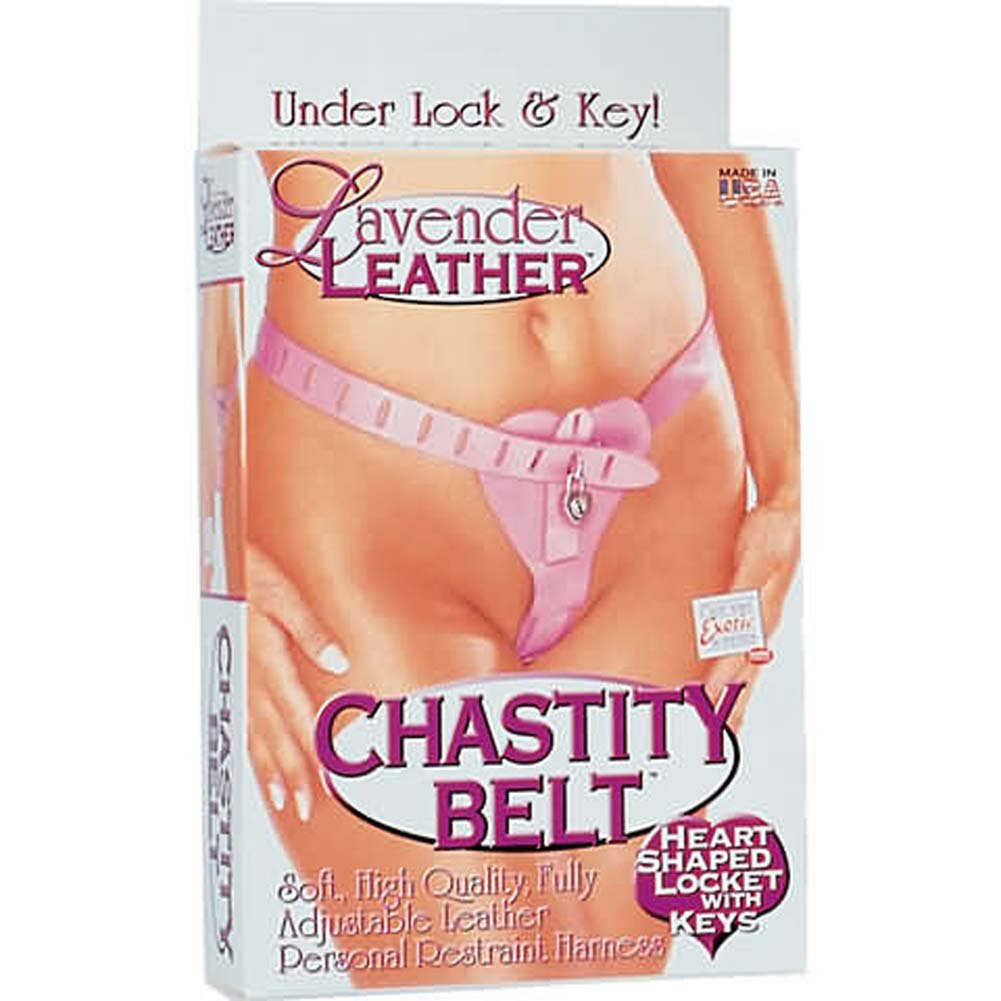 Lavender Leather Chastity Belt - View #1