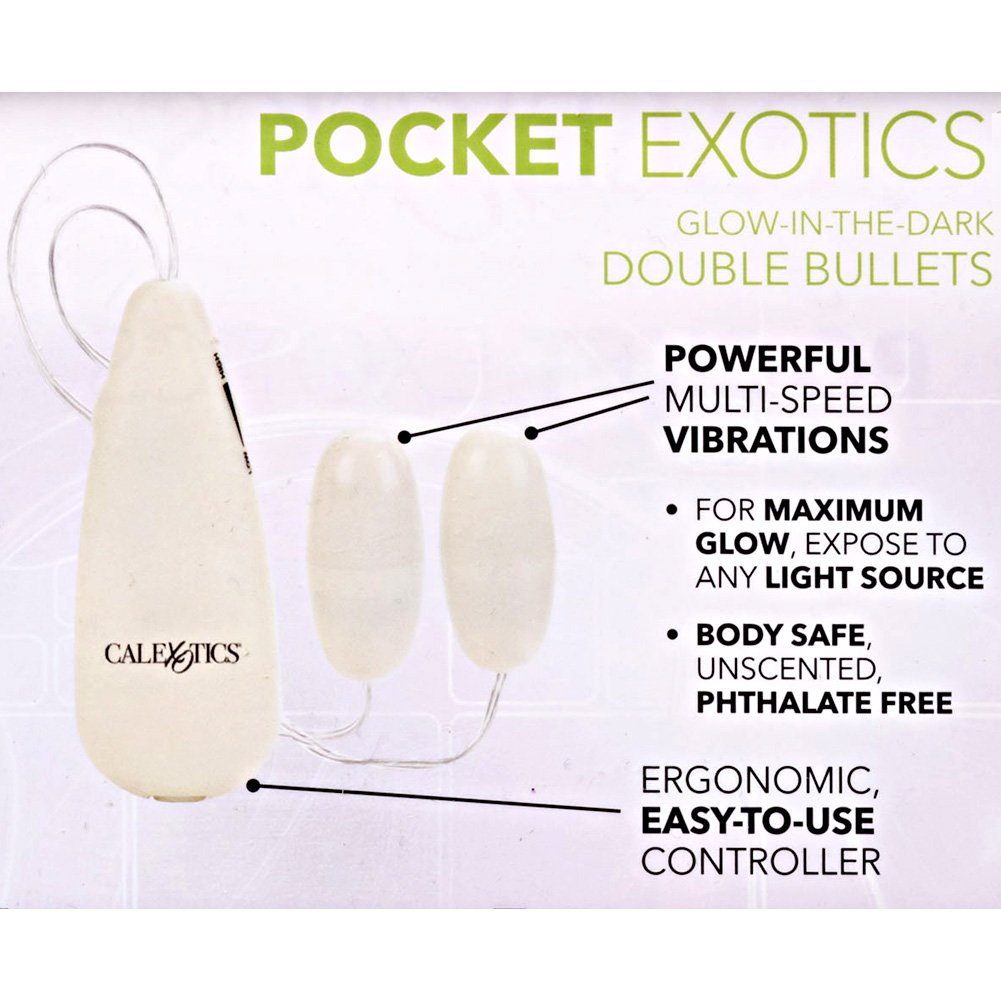 "Glow in the Dark Pocket Exotics Double Bullet Intimate Vibrator 2.5"" - View #1"