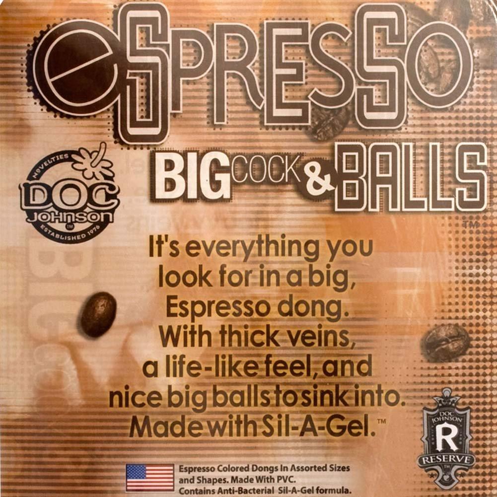 "Espresso Line Big Cock with Balls 7"" Ebony - View #3"