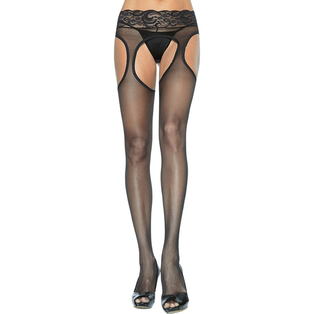 Leg Avenue Sheer Garter Pantyhose One Size Black - View #1