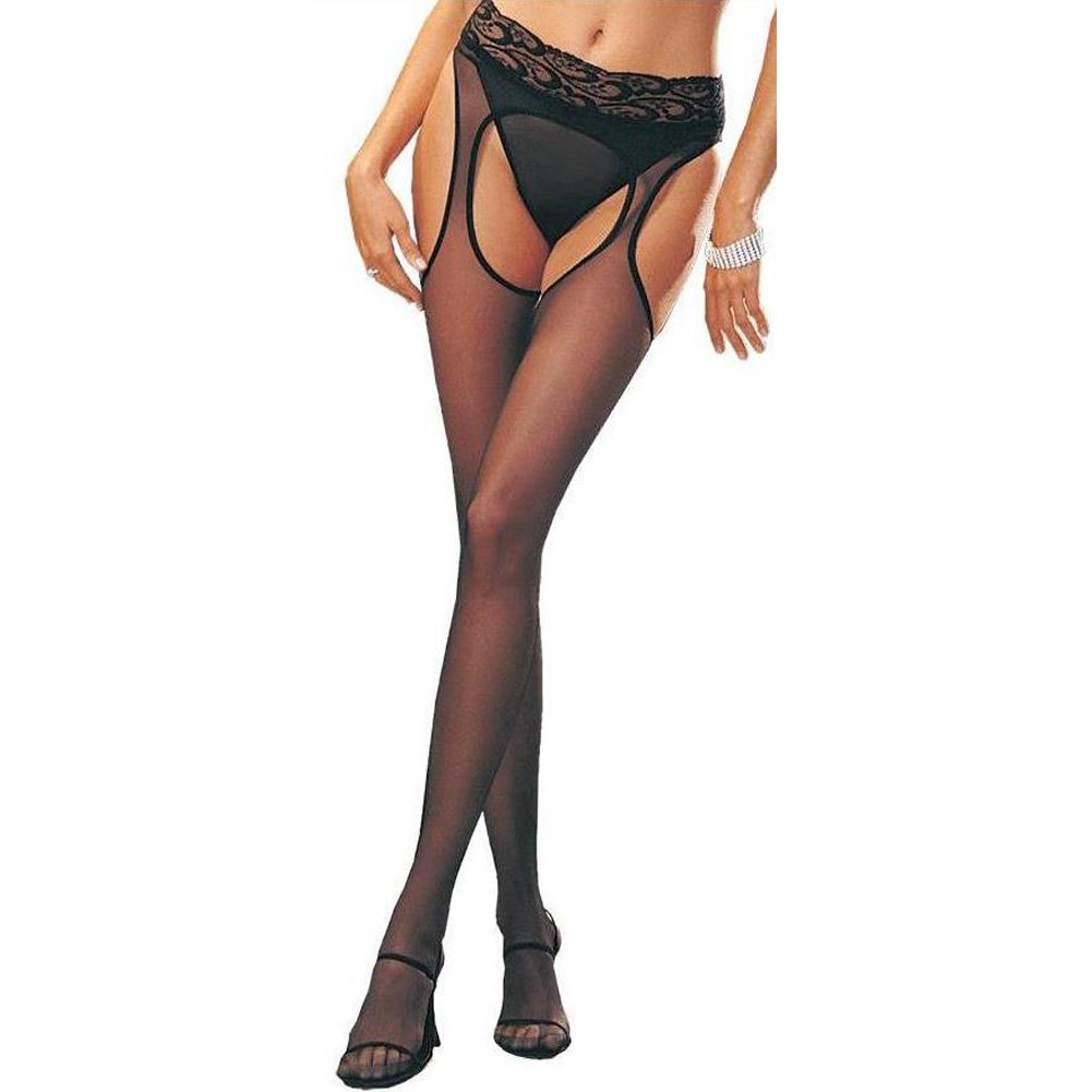 Leg Avenue Sheer Garter Pantyhose One Size Black - View #3