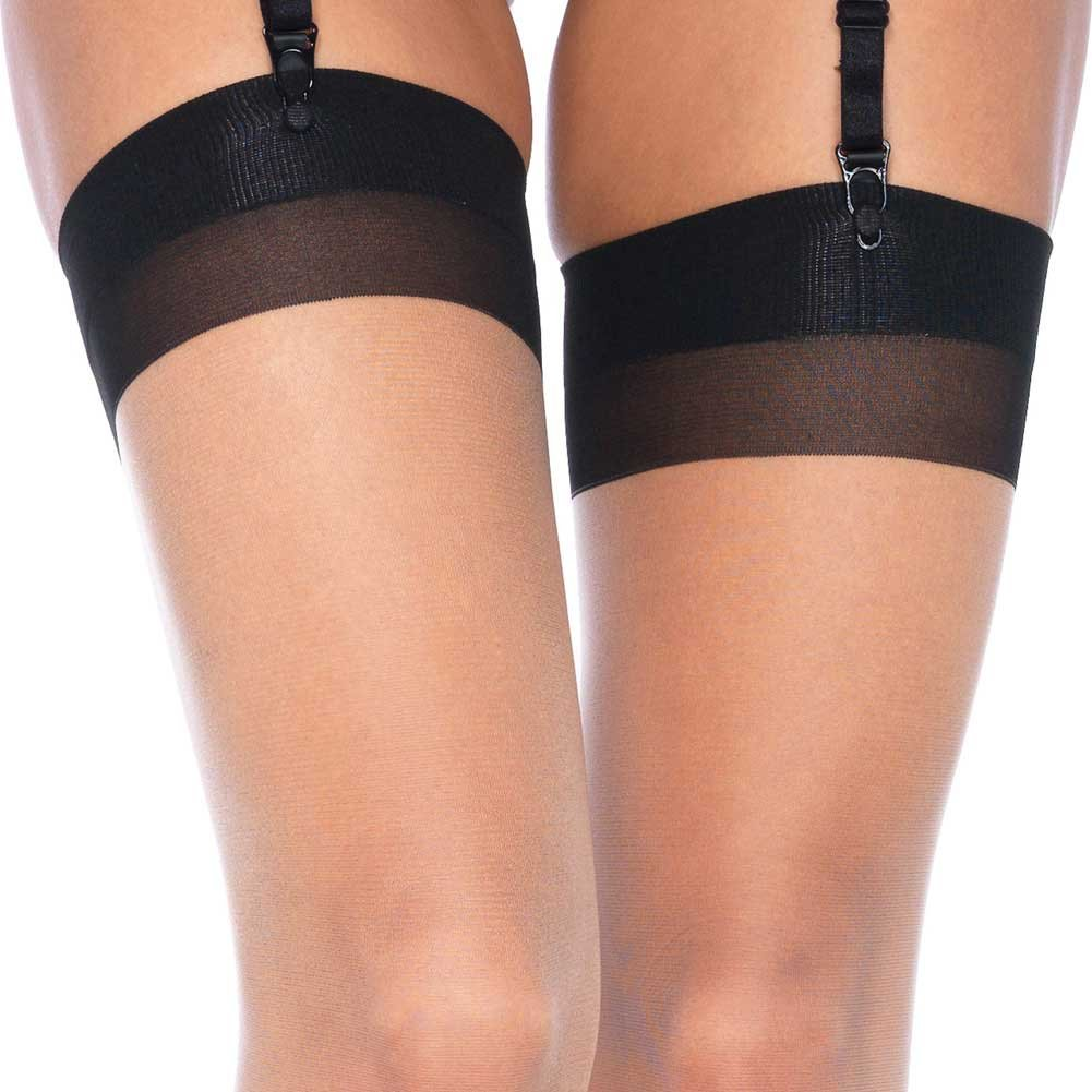 Cuban Heel Two Tone Thigh High One Size Black/Nude - View #4