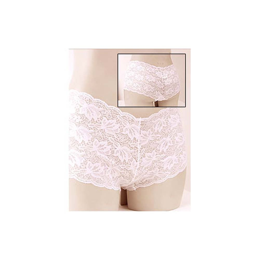 Stretch Lace Tanga Shorts White Small - View #1