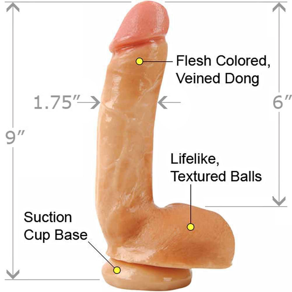 "Adams PleasureSkin Cock and Balls 8"" Natural - View #1"