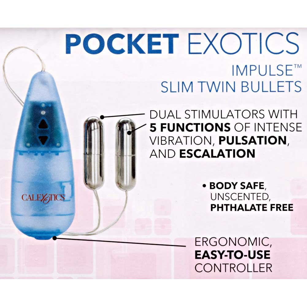 "California Exotics Impulse Pocket Pak Vibrating Slim Twin Silver Bullets 2"" - View #1"