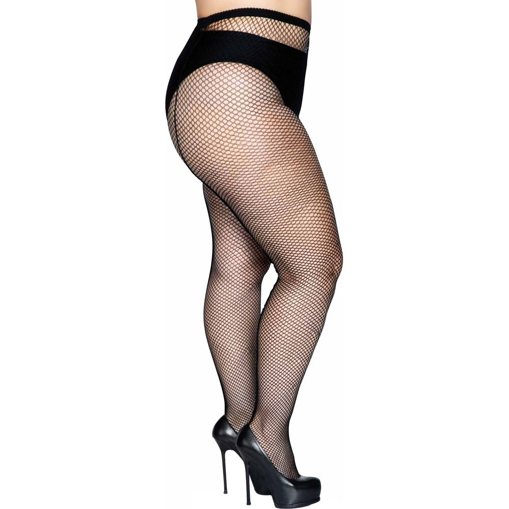 Fishnet Back Seam Pantyhose Black Plus Size - View #3