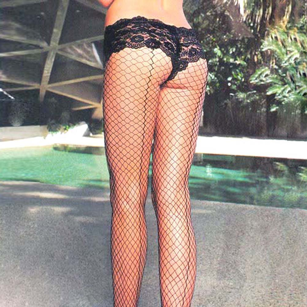 Lycra Industrial Net Back Seam Pantyhose - View #2