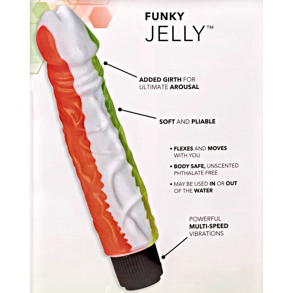 "California Exotics Funky Jelly Waterproof Vibe 8"" Orange and Green - View #1"