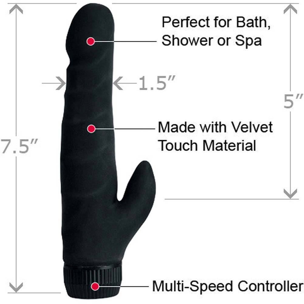 "California Exotics Black Velvet Waterproof Vibrating Clit Stimulator 7.5"" - View #1"