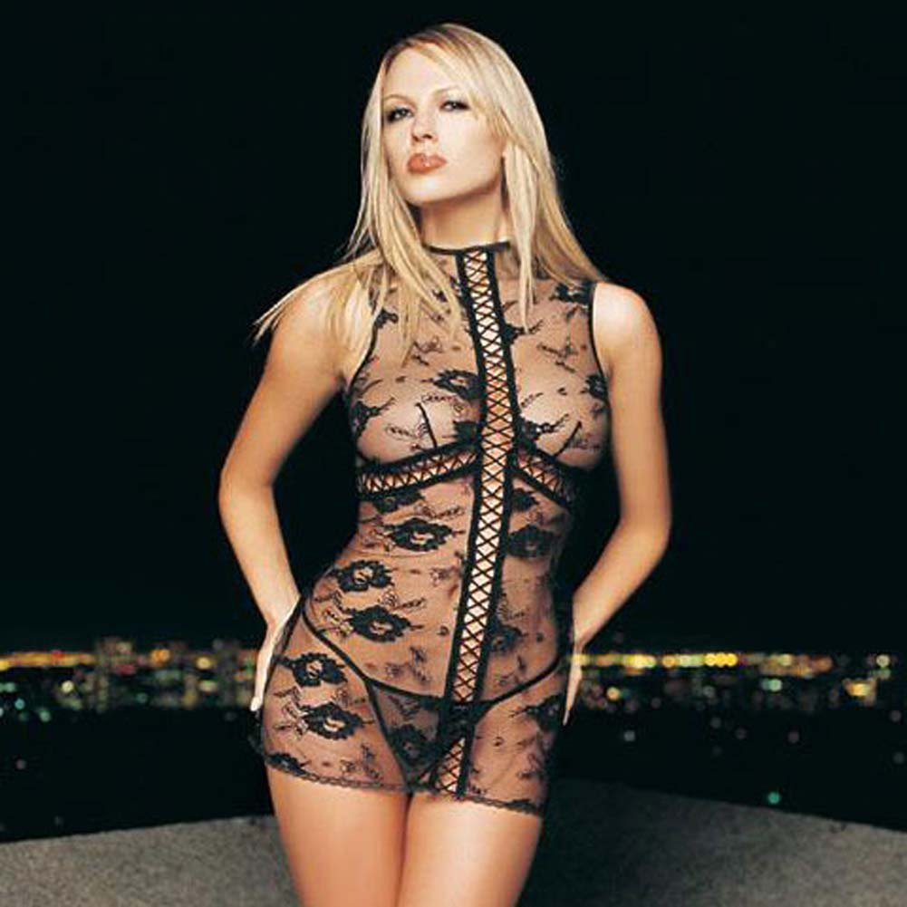 Flower Lace Mini Dress with Faux Lace Up and G/String 2 Pc. - View #1