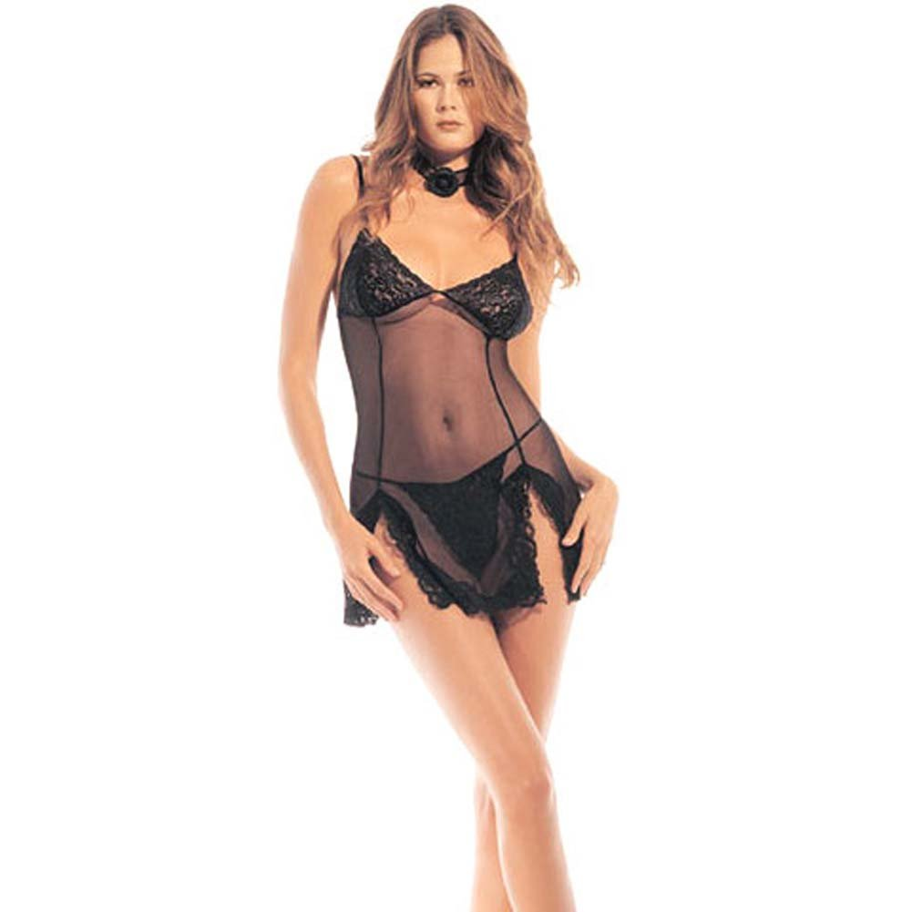 Sheer Lace Chemise with G-String - View #1