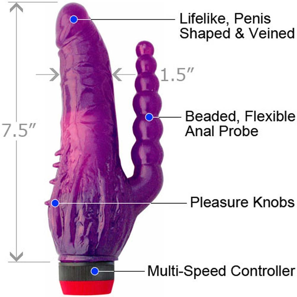 "Jelly Vibrator Caribbean Tango 7.5"" Purple - View #1"