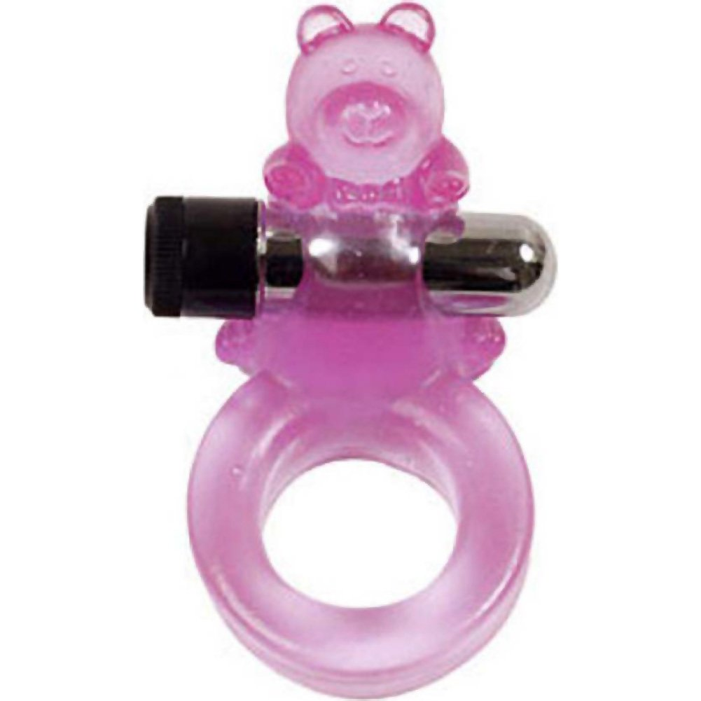 Clit Buddy Buzzy Bear Vibrating Cockring for Couples Purple - View #2