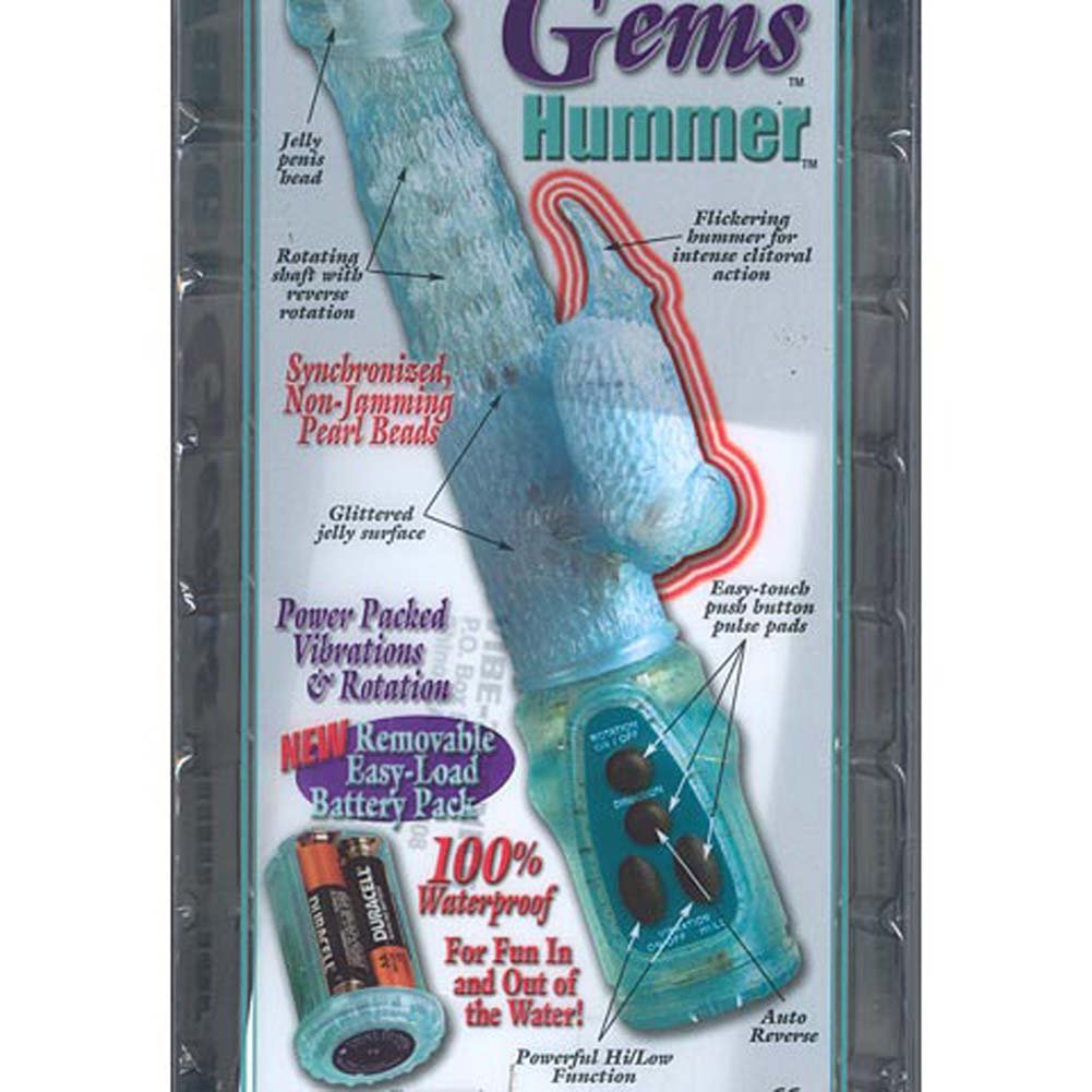 Water Gems Hummer Waterproof Jelly Vibe Blue 5 In. - View #3