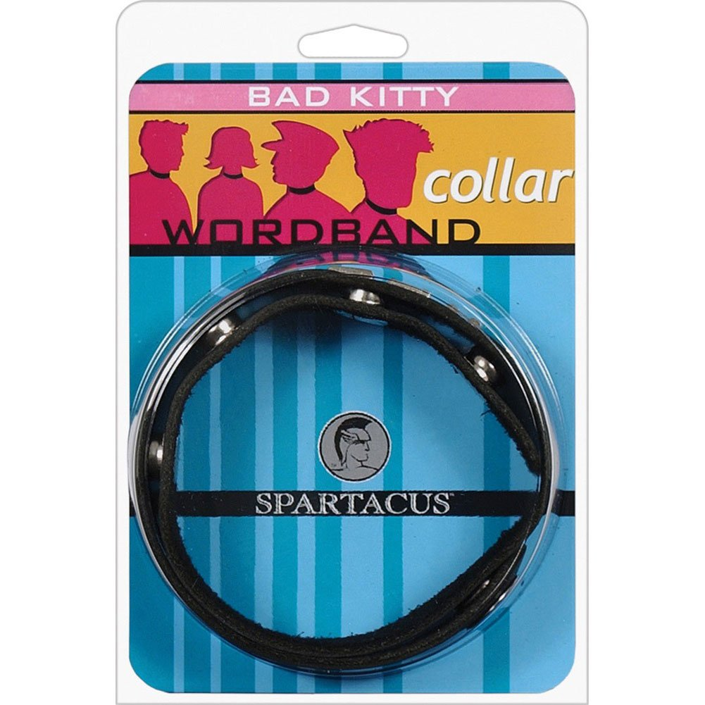 BAD KITTY Wordband Adjustable Leather Collar Black - View #1