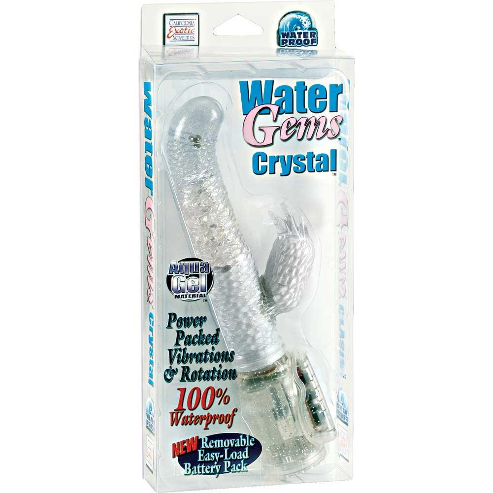 "California Exotics Water Gems Crystal Jelly Rabbit Vibrator 7"" Crystal Clear - View #1"