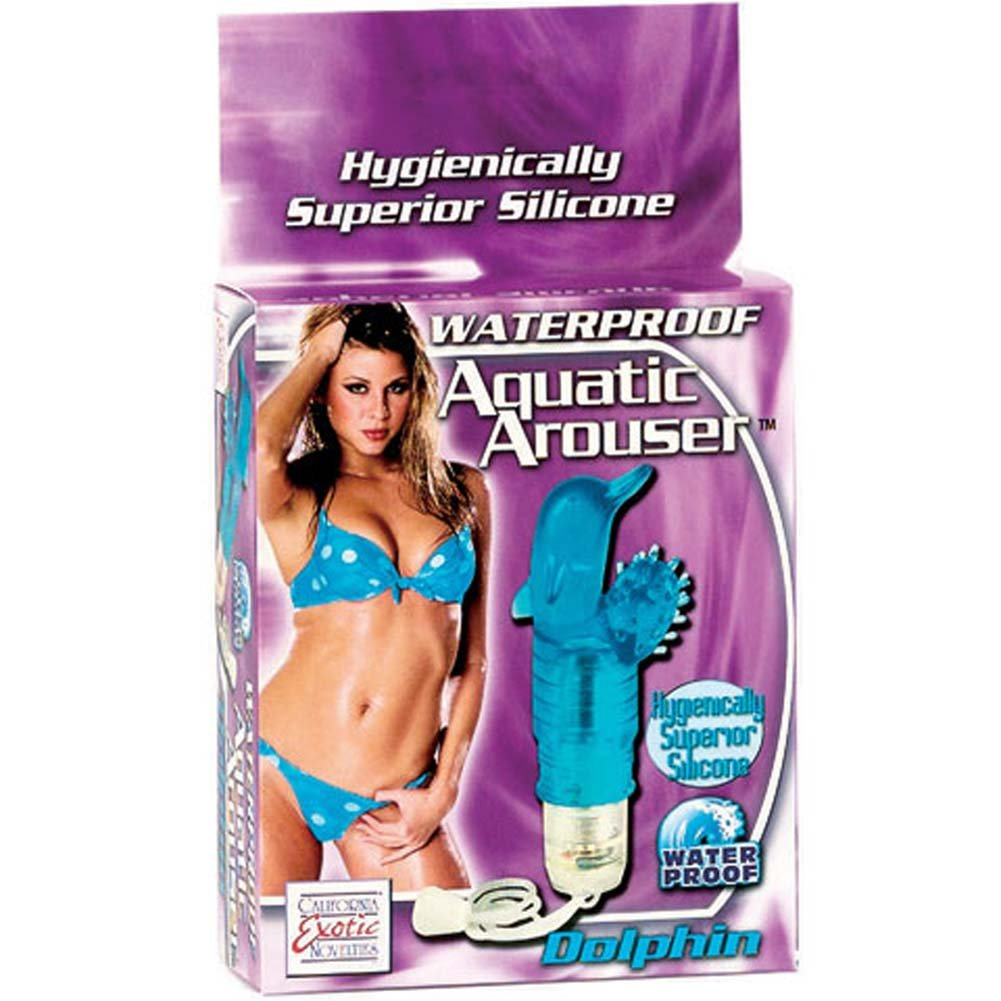 """Waterproof Aquatic Arouser Silicone Dolphin Vibe 4"""" Blue - View #1"""