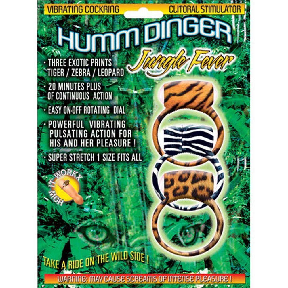 Humm Dinger Stimulator Jungle Fever Vibrating Cockring 3 Pc. - View #2