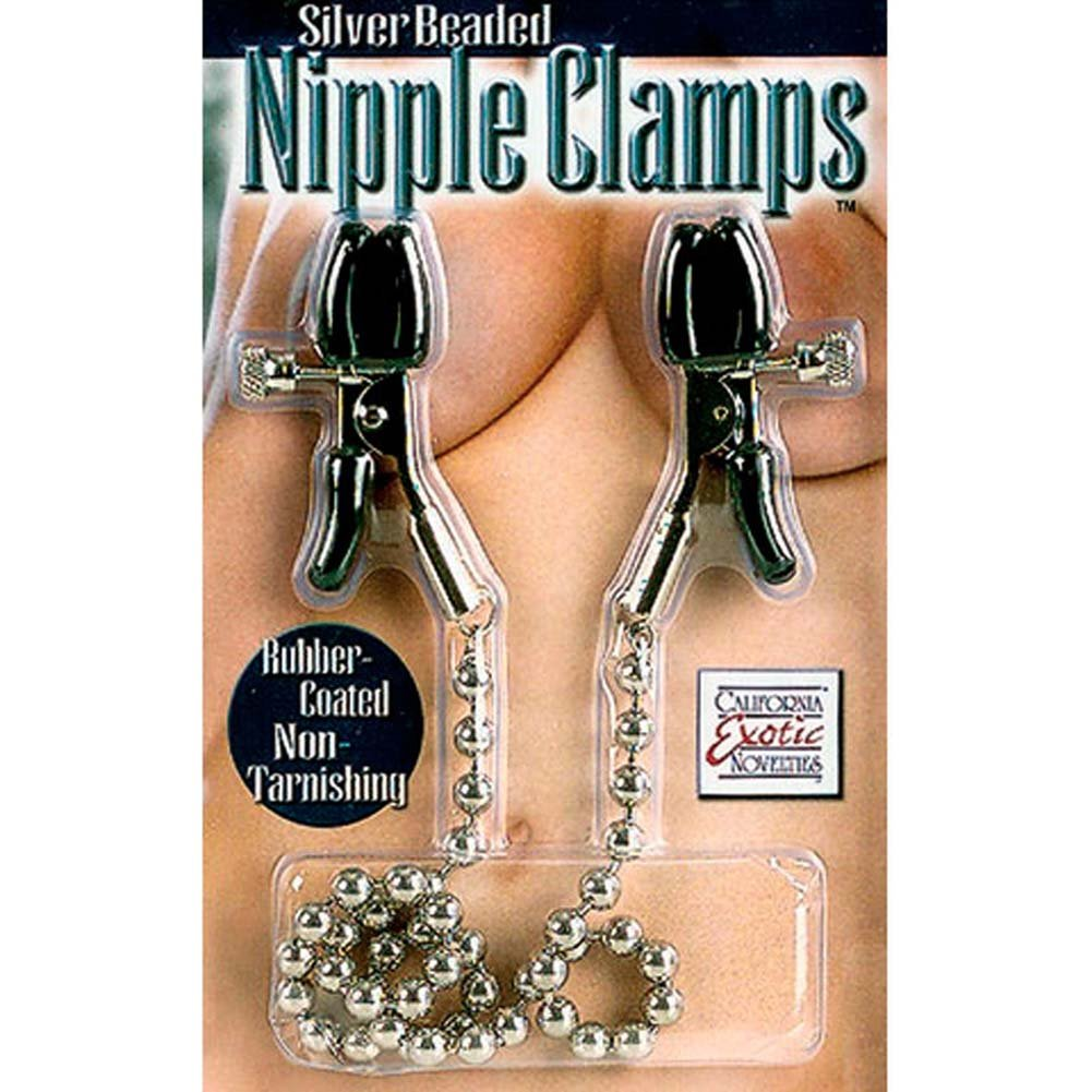"Silver Beaded Nipple Clamps 13"" RbDV - View #3"