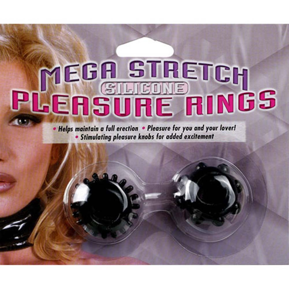 Mega Stretch Silicone Two Black Pleasure Rings Kit - View #1