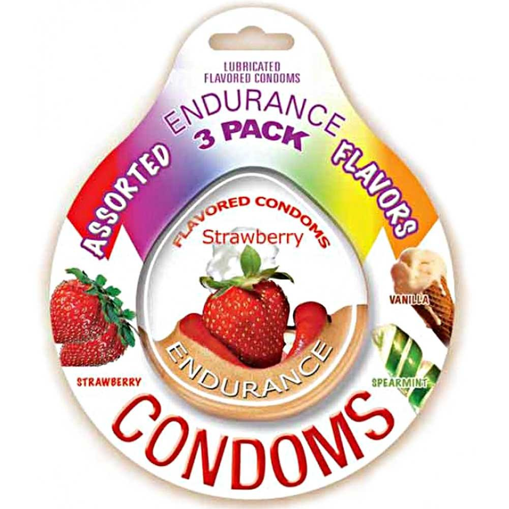 Hott Products Endurance Condoms Pack of 3 Assorted Flavors - View #1