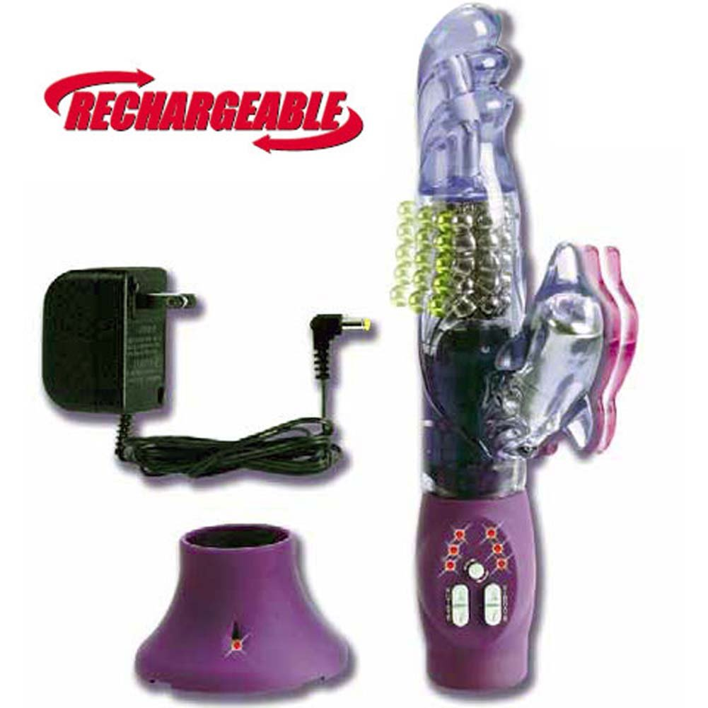 Rechargeable Beaded Dolphin Jelly Vibe 10 In. - View #3