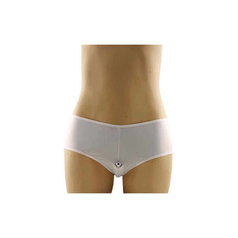 Boy Shorts Vibrating Panties White Large to X Large Size - View #2