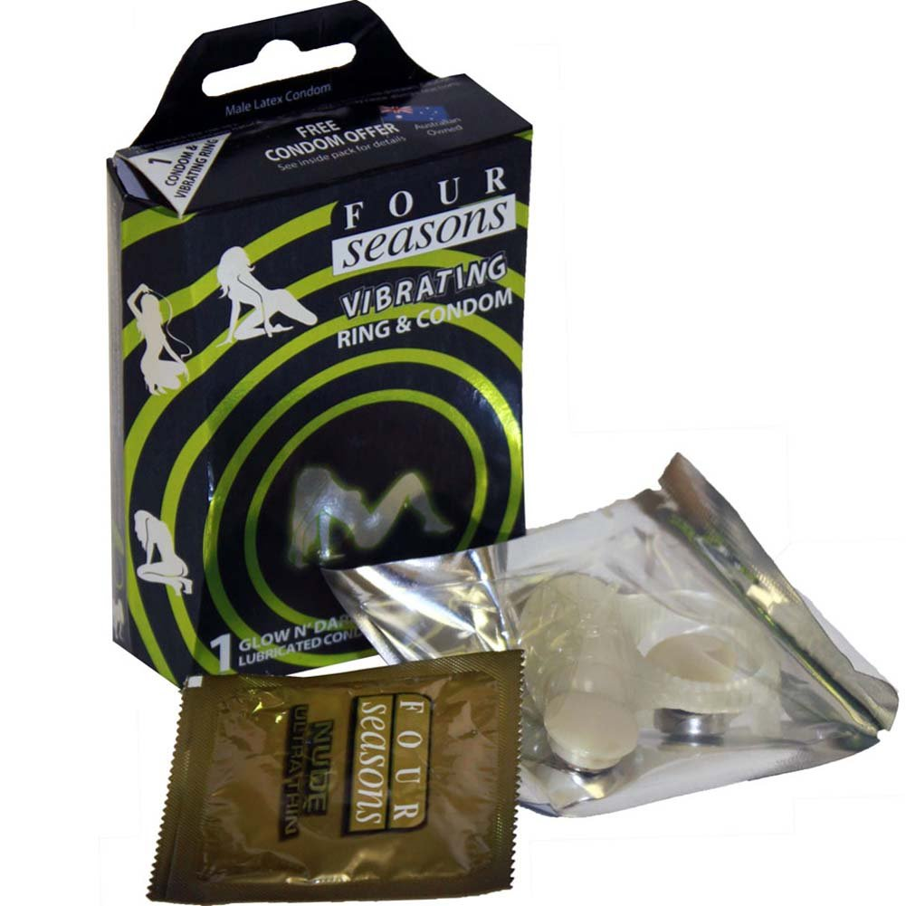Four Seasons Glow in the Dark Vibrating Ring and Condom - View #1