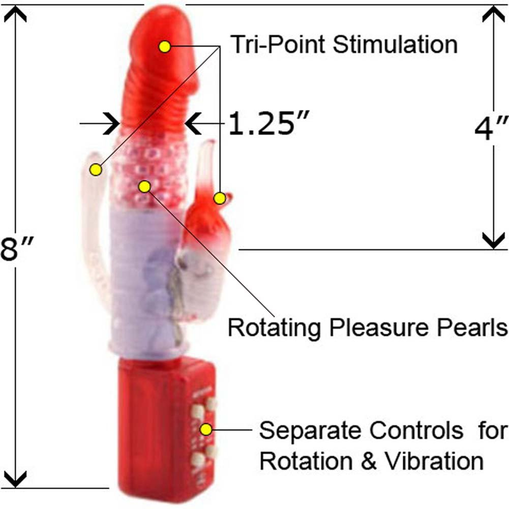 Rotating Double Duo Jelly Vibrator Red 8 In. - View #2