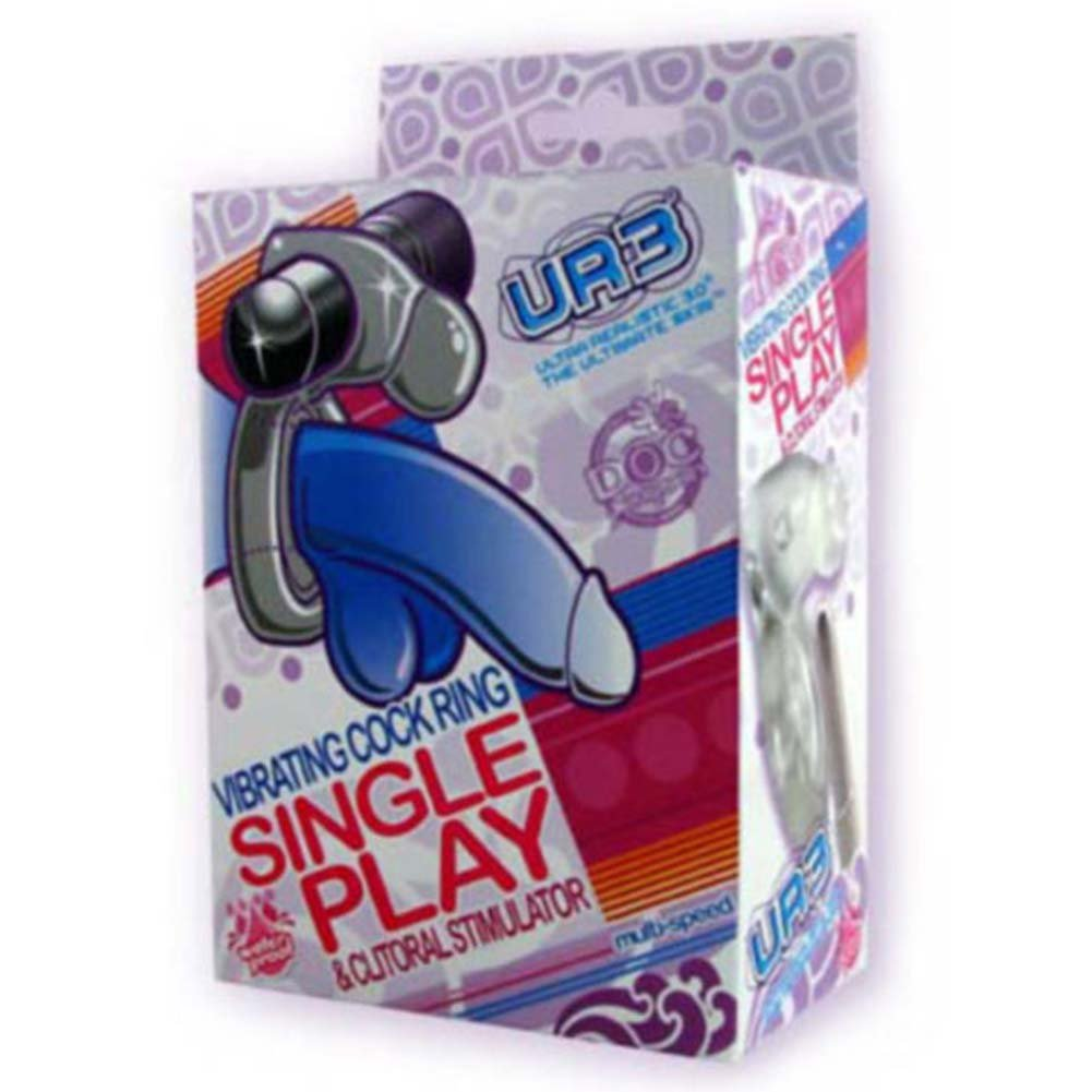 Single Play Waterproof UR3 Vibrating Cock Ring Clear - View #1