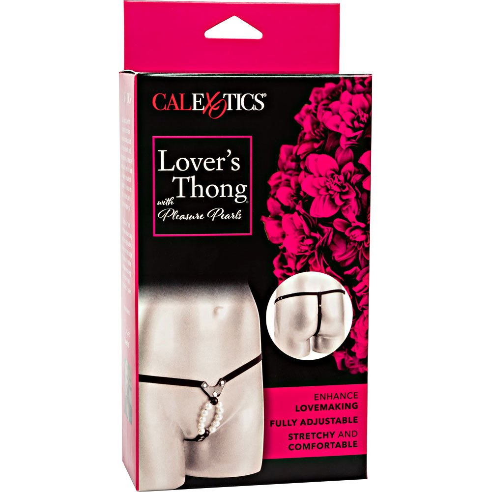 CalExotics Lovers G-String with Stroker Pleasure Beads One Size White Pearls - View #4