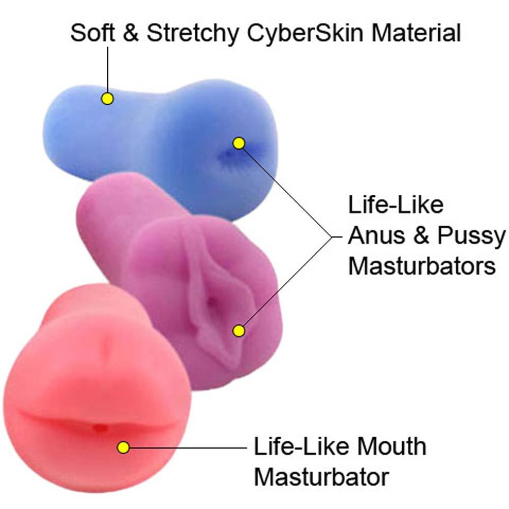 CyberSkin Stroker Triplets Kit Mouth Pussy and Ass - View #1