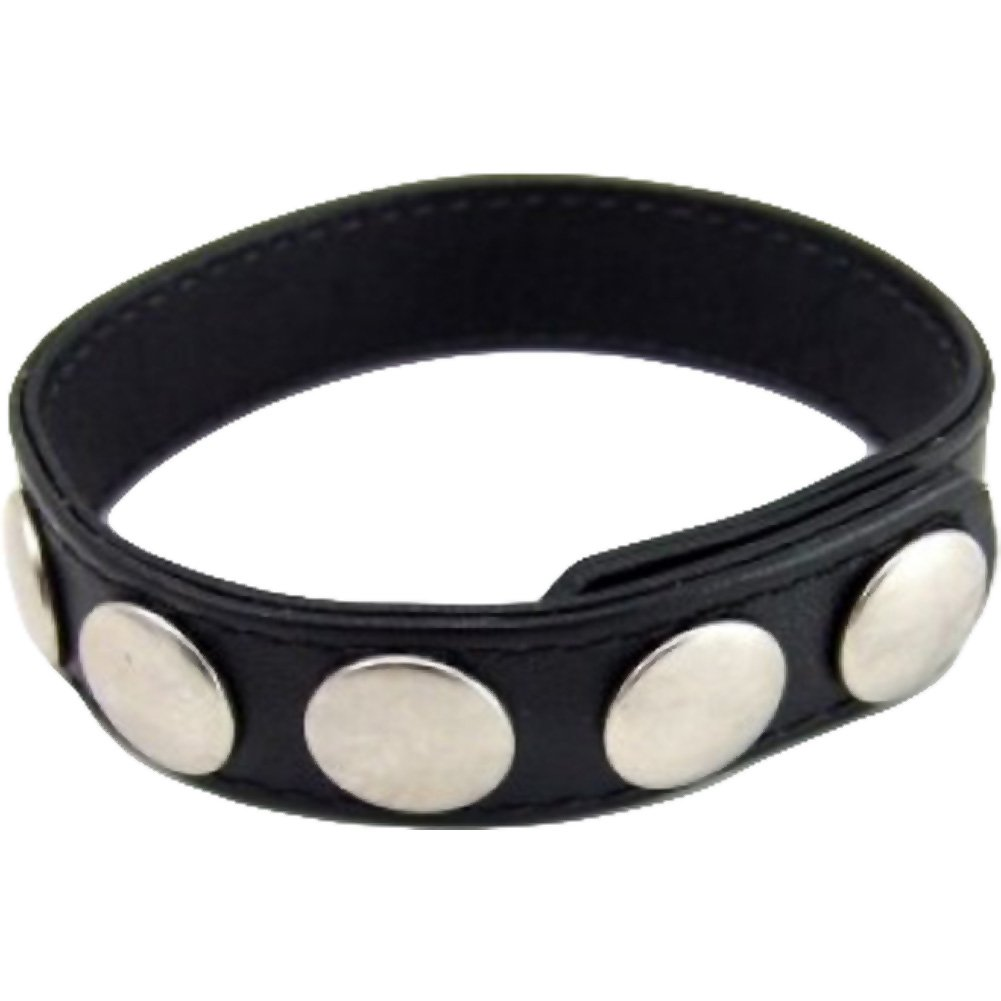 M2M 5 Snap Leather Cockring Black - View #2