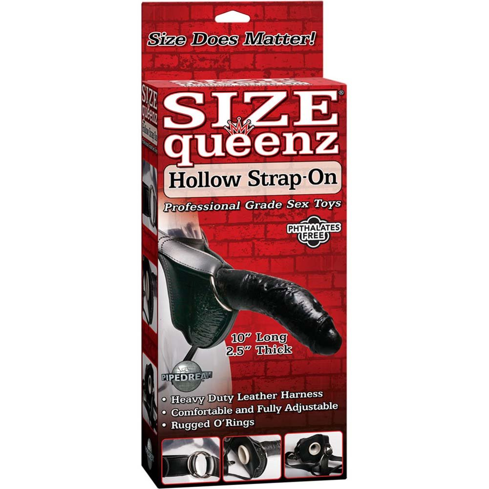 "Size Queenz Professional Grade Strap-On Dong 10"" Ebony - View #4"
