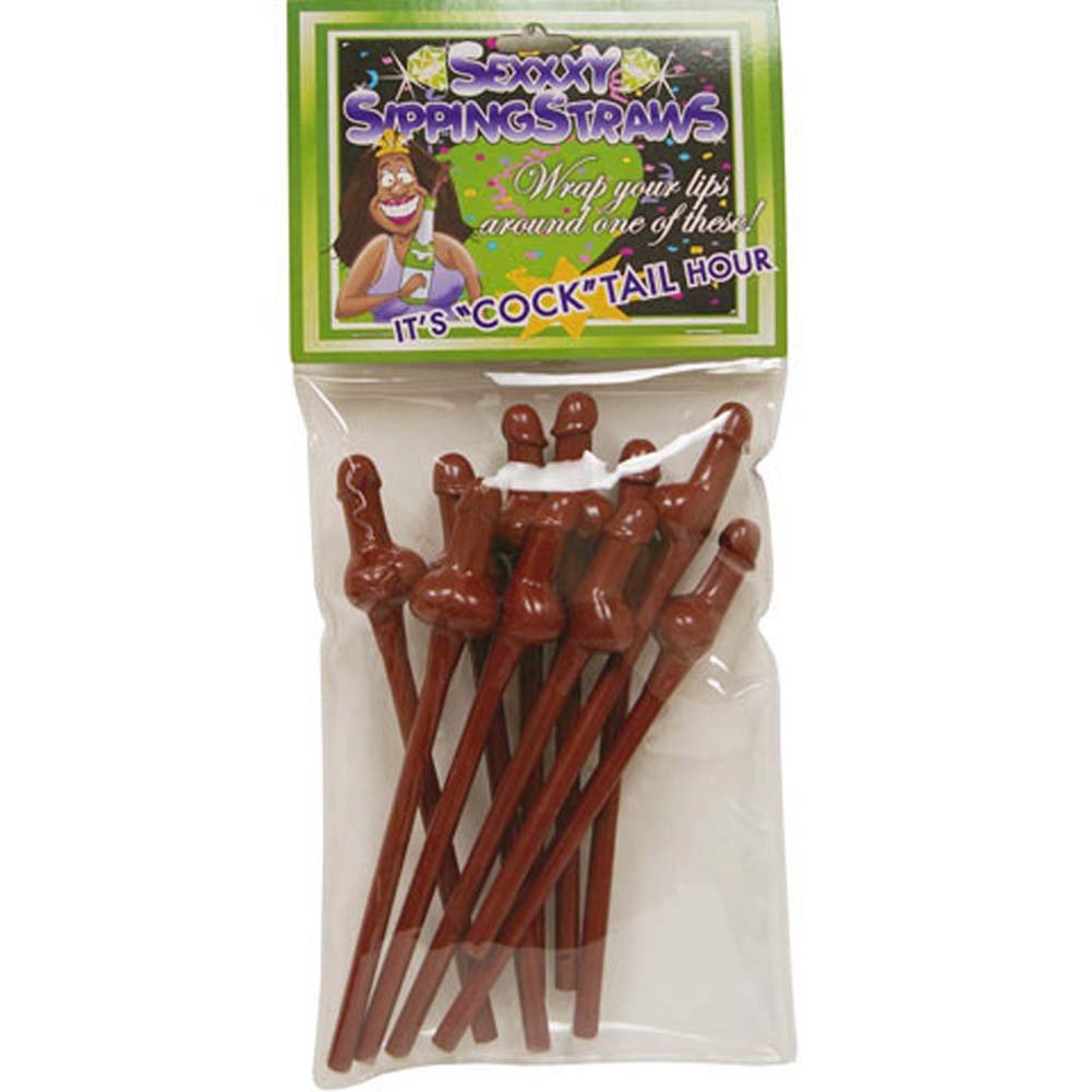 Sexy Sipping Straws 10 Pack Brown - View #1