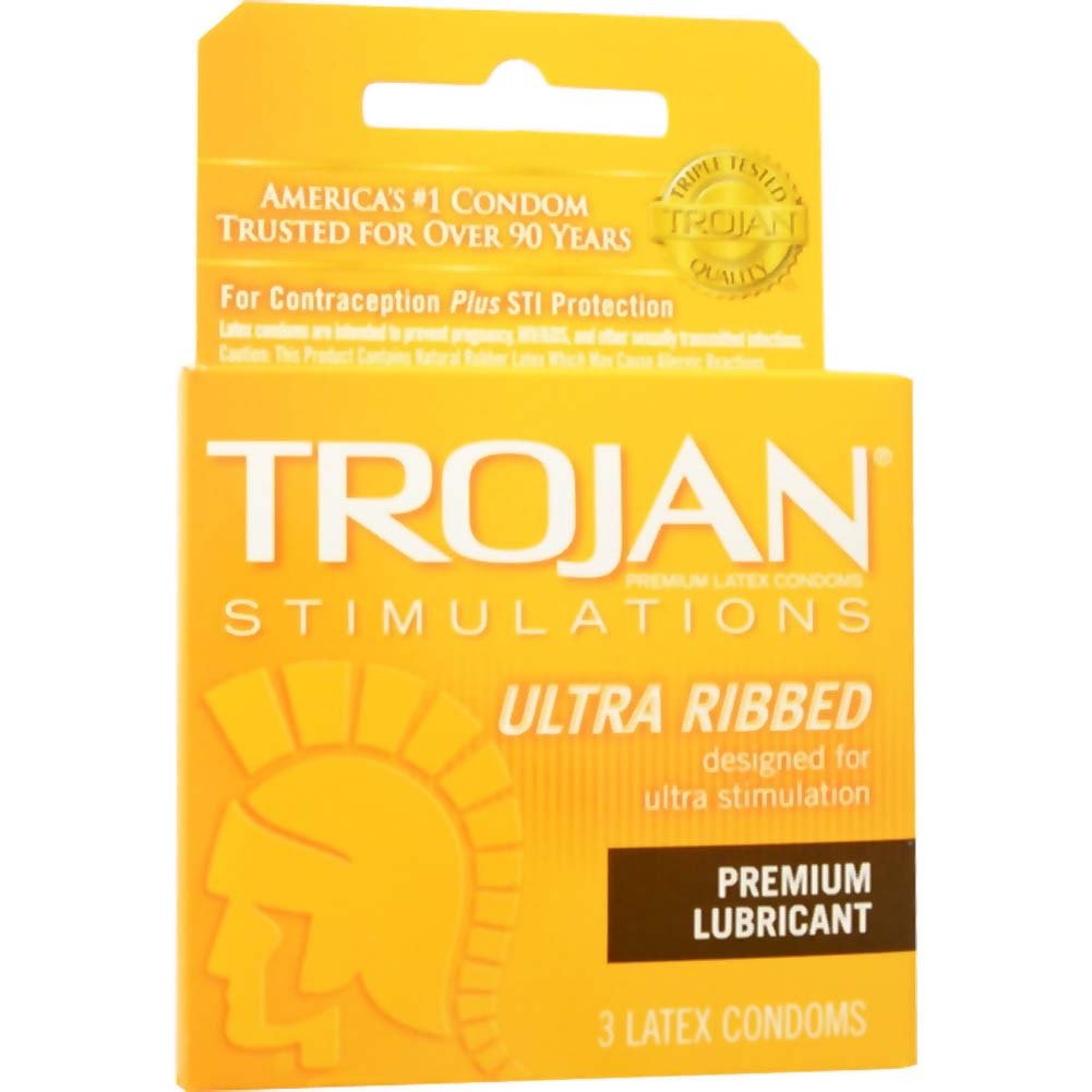 Trojan Stimulations Ultra Ribbed Lubricated Condoms 3 Pack - View #2