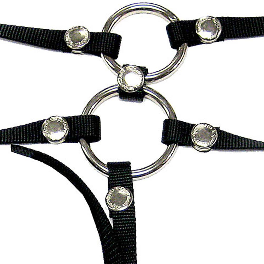 Tag Team Double Penetration Harness with Dildo and 3 O/Rings - View #3