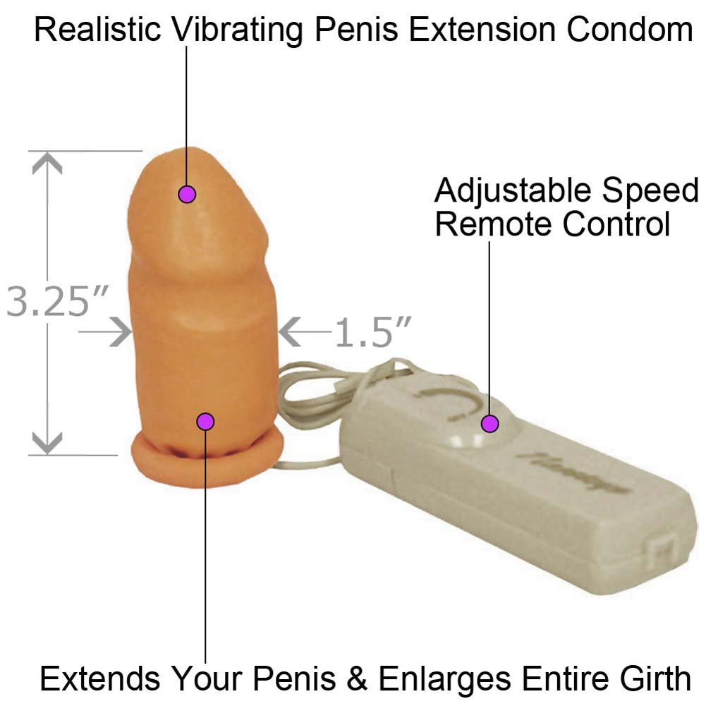"Vibrating Penis Extension Condom 3.25"" Natural - View #1"