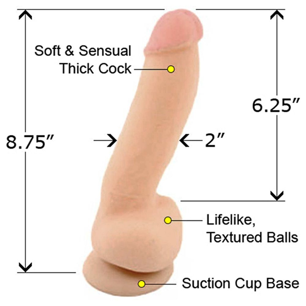 "California Exotics Fabios My Perfect Cock Futurotic Suction Cup Dong 8.75"" Natural Flesh - View #1"