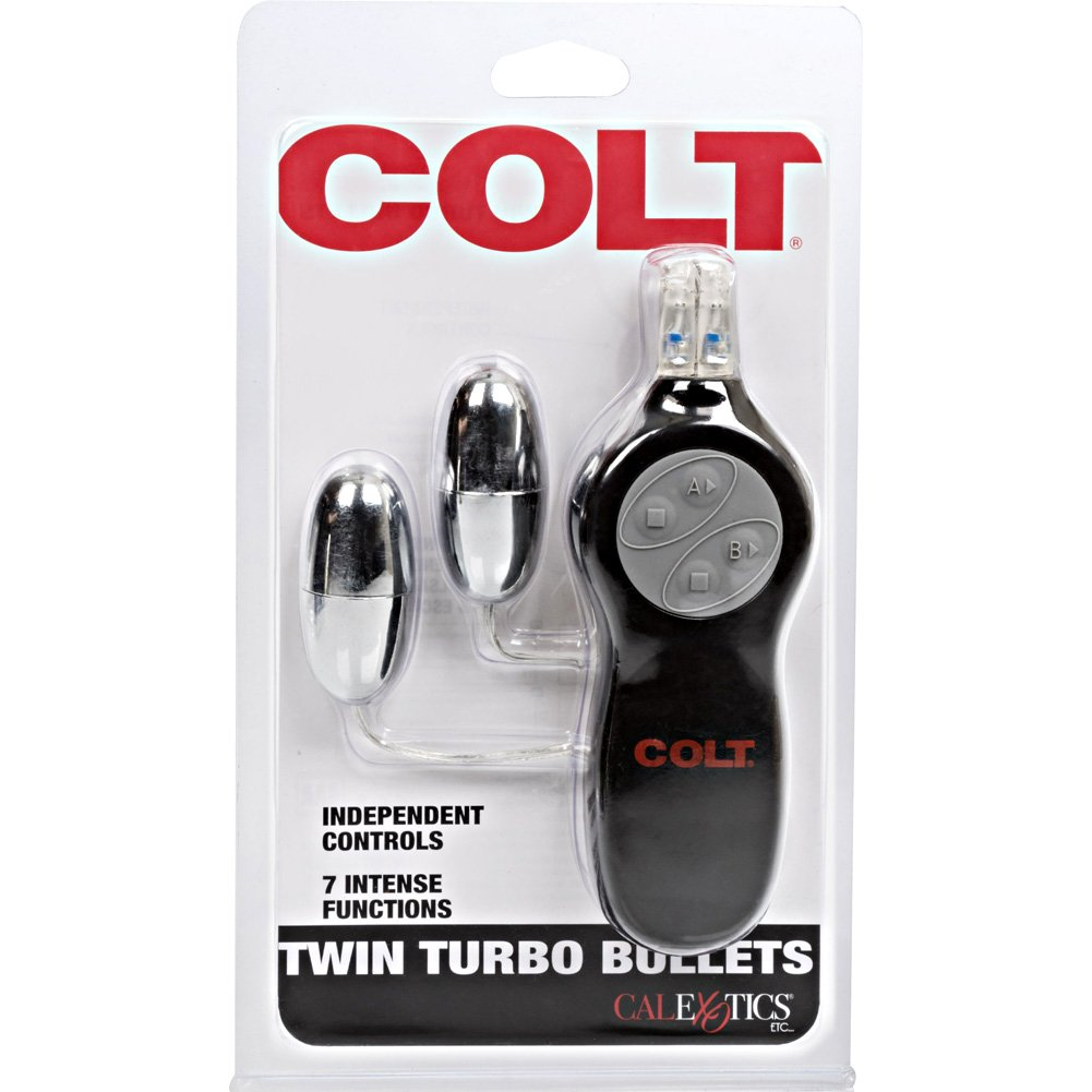 "California Exotics COLT 7 Function Twin Turbo Vibrating Bullets 2.25"" Silver - View #4"