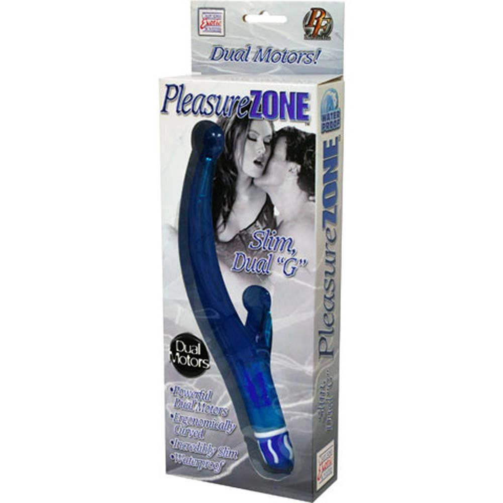 Pleasure Zone Slim Dual G Jelly Waterproof Vibe Blue 9.25 In - View #1