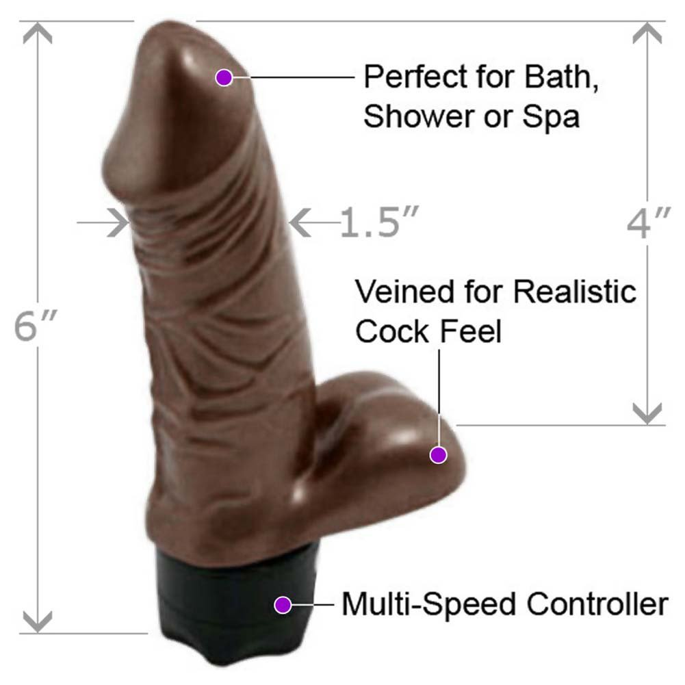 "Pearl Sheen Pearl Shine Vibrator with Balls 6"" Brown - View #1"