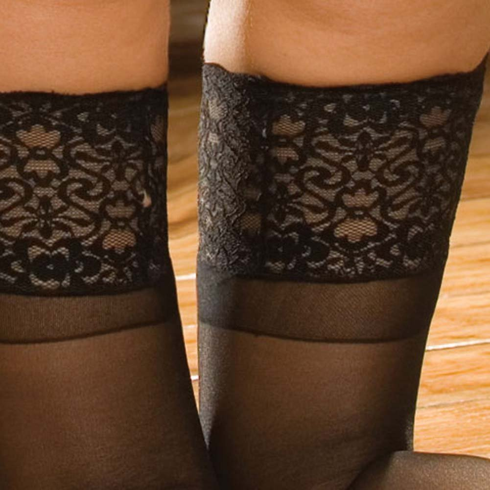 Wide Lace Top Stay Up Sheer Thigh Highs Black - View #4