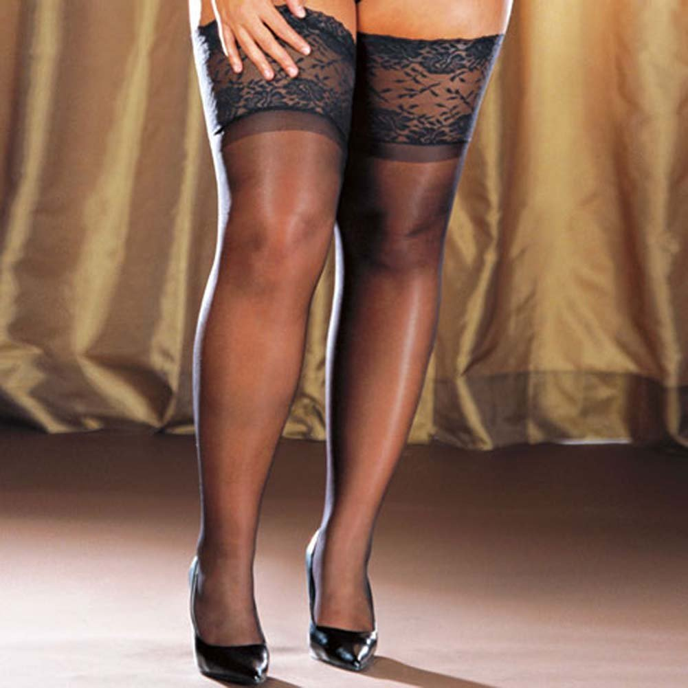 Wide Lace Stay Up Sheer Thigh High Black Plus Size - View #3