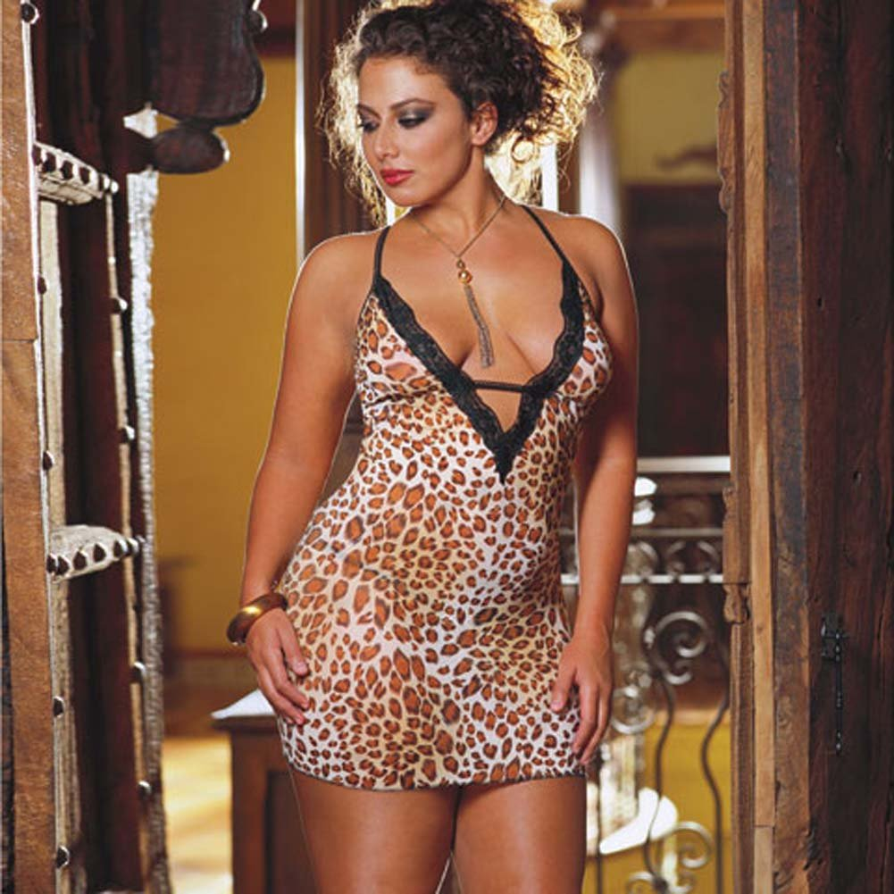 Leopard Print Net and Lace Babydoll Plus Style 4329X - View #2