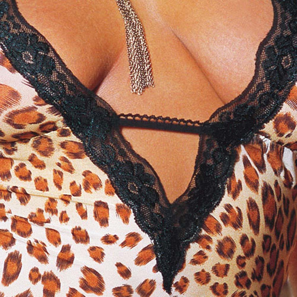 Leopard Print Net and Lace Babydoll Plus Style 4329X - View #4